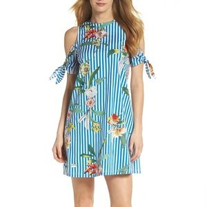 Julia Jordan cold shoulder stripped floral dress